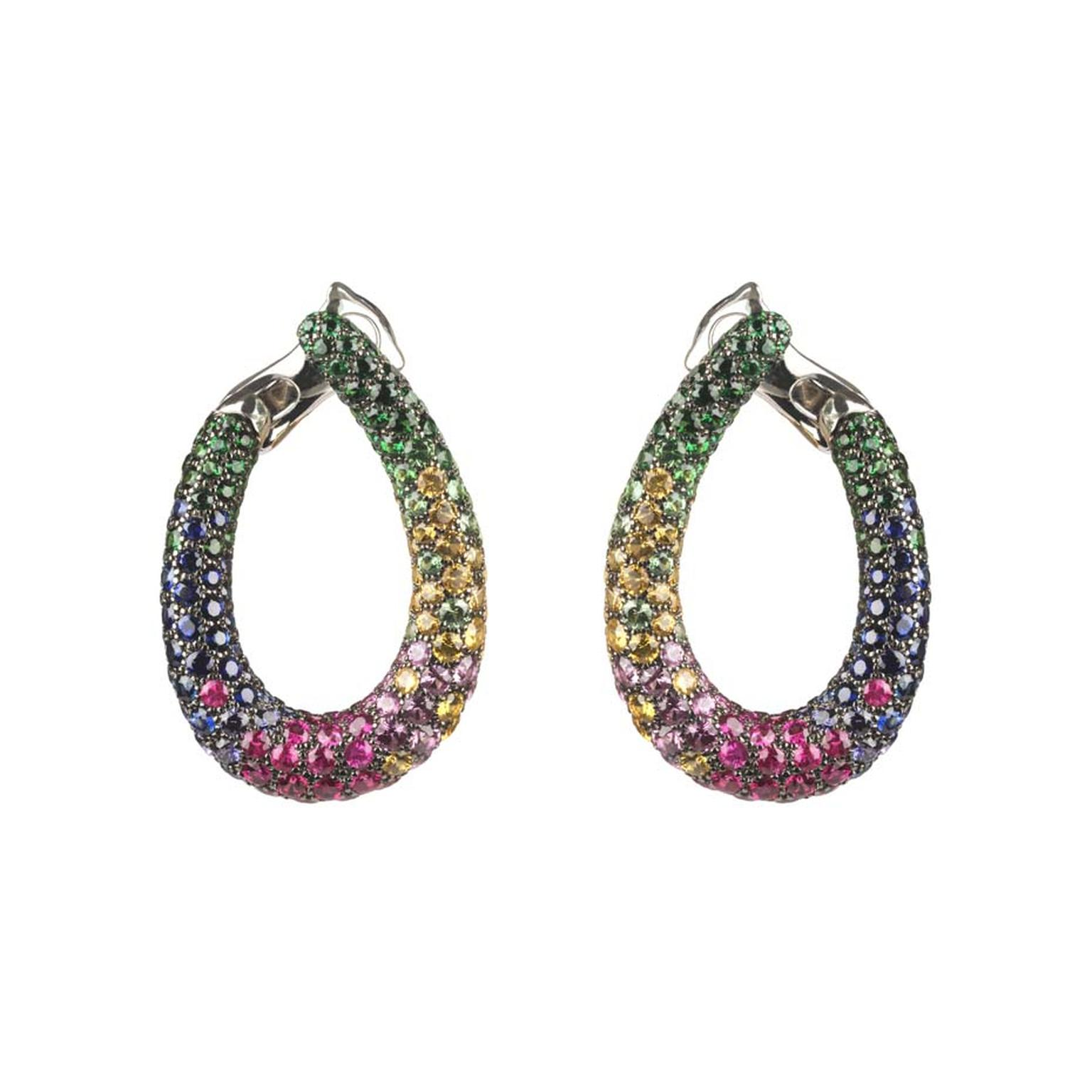 Boucheron Chameleon hoop earrings set with pavé round tsavorites, pink, blue, orange, yellow and purple sapphires, in blackened white gold.
