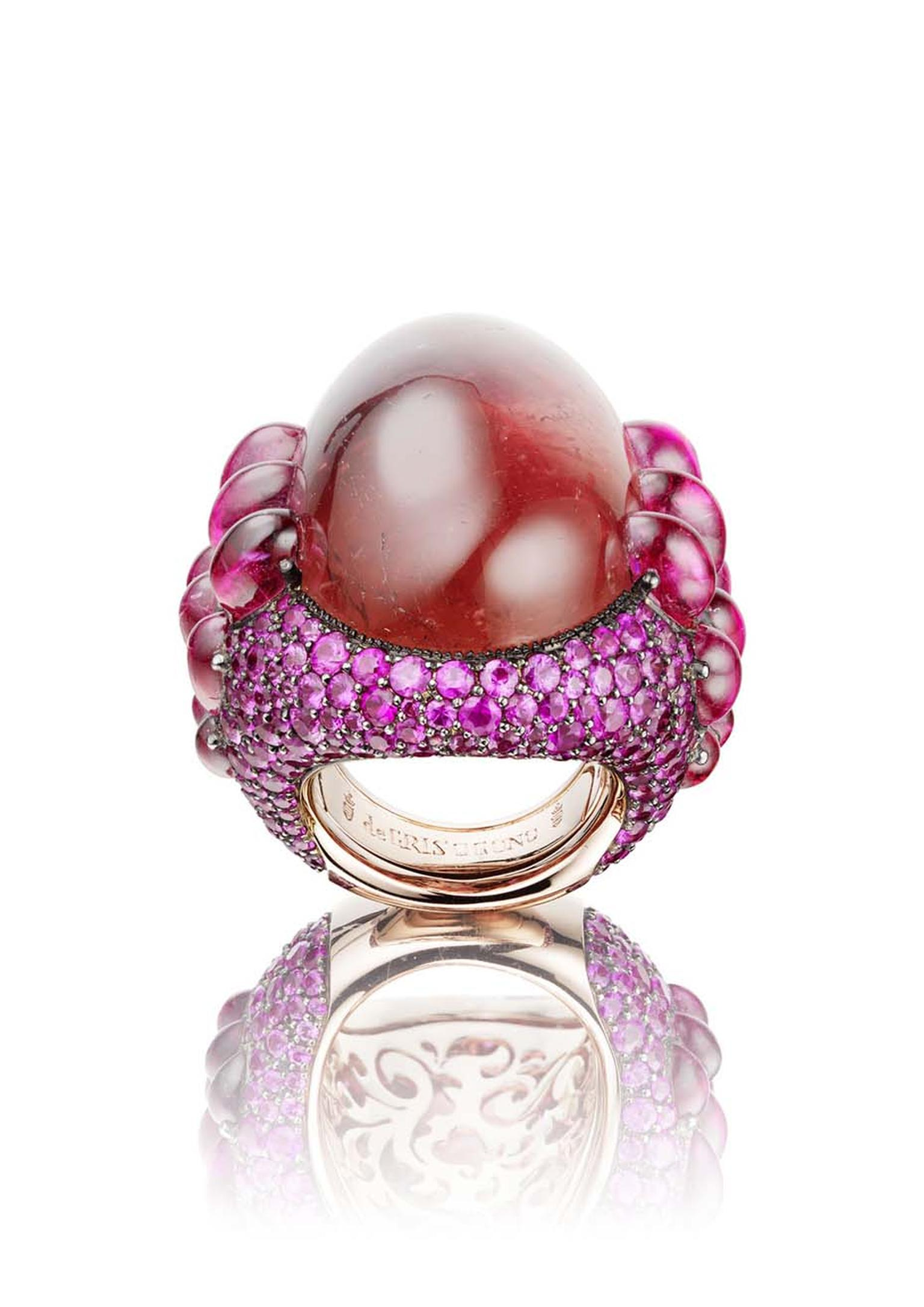 De GRISOGONO Melody of Colours ring in pink gold, set with an oval-shaped cabochon-cut tourmaline of 79.43ct, surrounded by cabochon-cut tourmalines and pink sapphires.