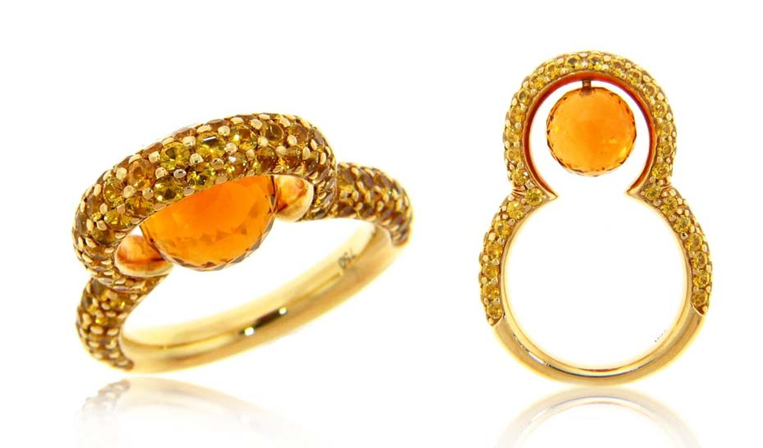 Michael John Jewelry yellow gold pearl ring with a 2.74ct faceted sapphire and pavé citrine (US$5,300).