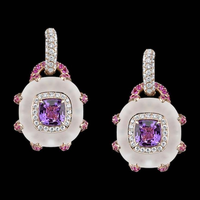 Robert Procop pink sapphire and crystal earrings.