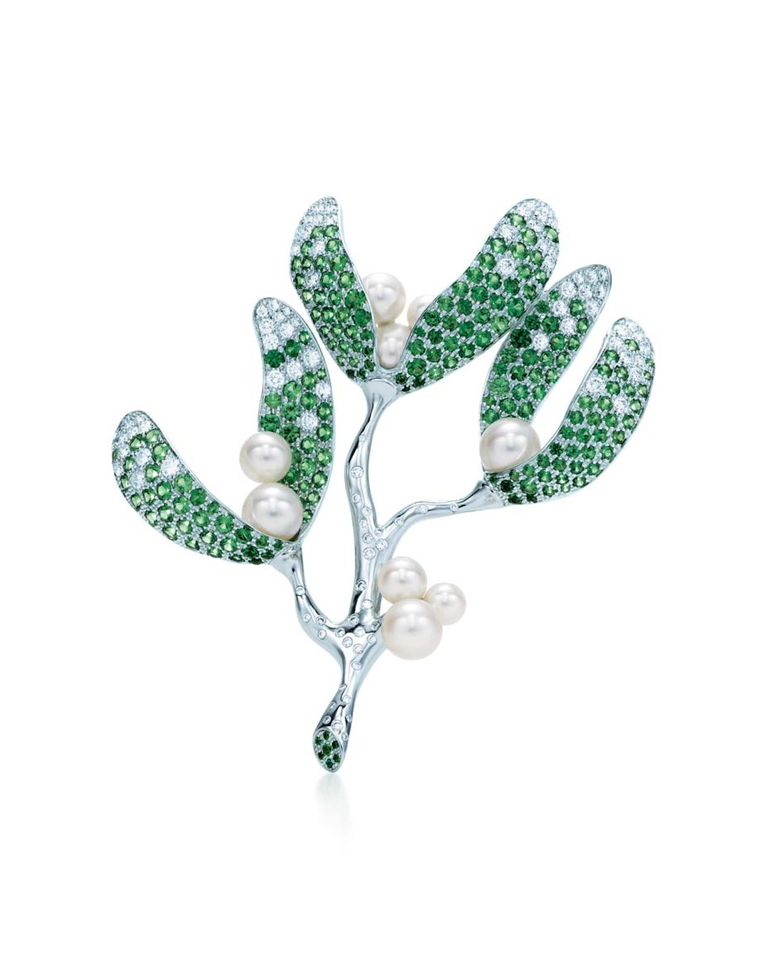 Tiffany & Co. Mistletoe brooch in white gold, with diamonds, tsavorites and South Sea pearls ($53,000).