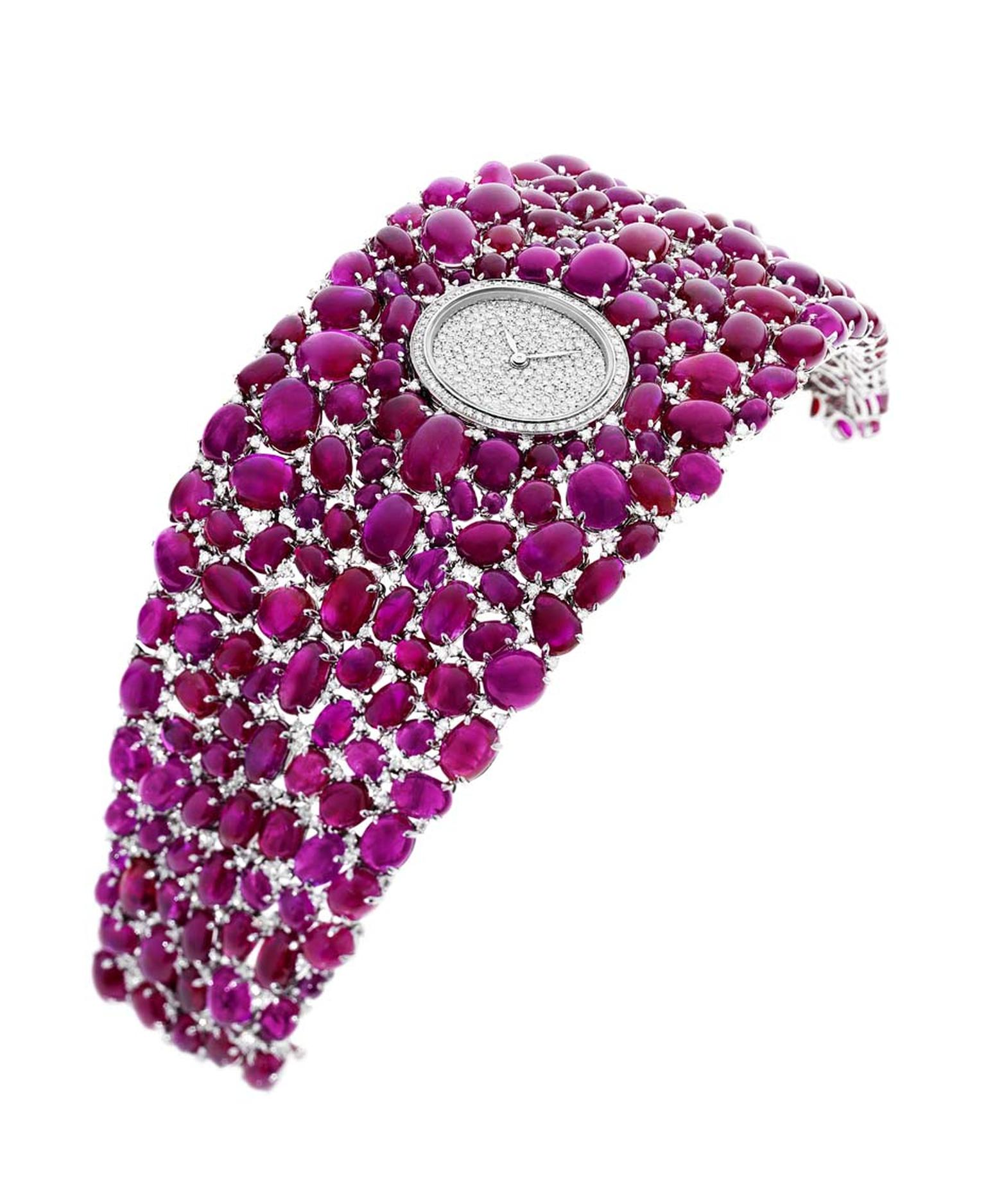 A finalist in the 'Jewellery' category at this year's Grand Prix d'Horlogerie de Genève, 218 diamonds add sparkle to the dial on DeLaneau's Grace Rubies jewellery watch.