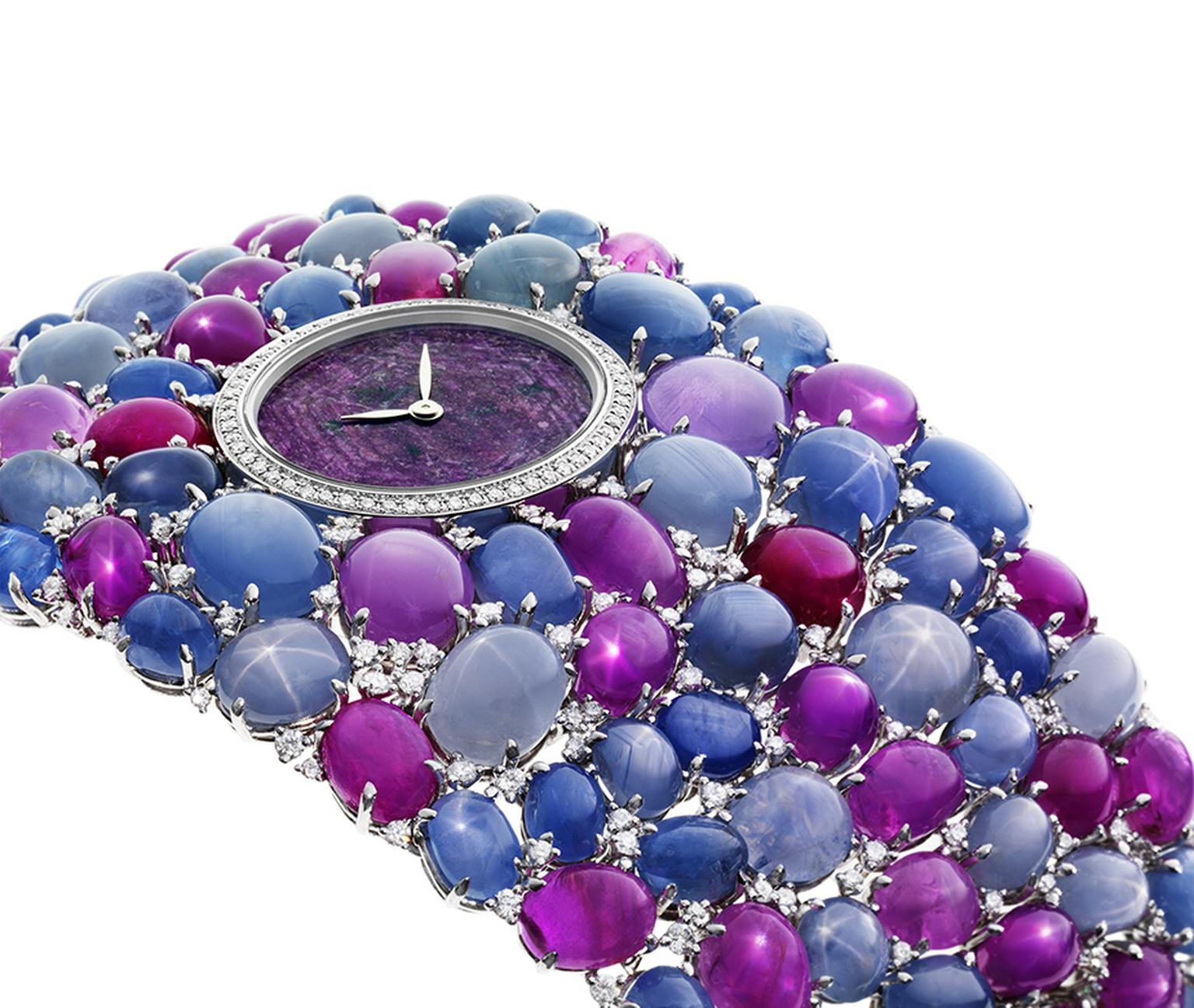 DeLaneau's Grace Stars jewellery watch, set with star rubies and star sapphires, is an exceptional combination of gemmological rarities and exquisite gem-setting.