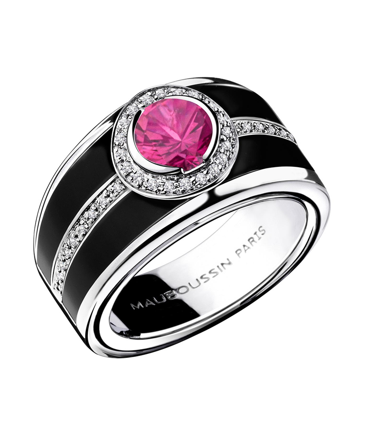 In black lacquer with a 1.03ct pink sapphire surrounded by pavé diamonds, Mauboussin's Bonbon Rose ring is also available with either a blue sapphire or black diamond ($7,850).