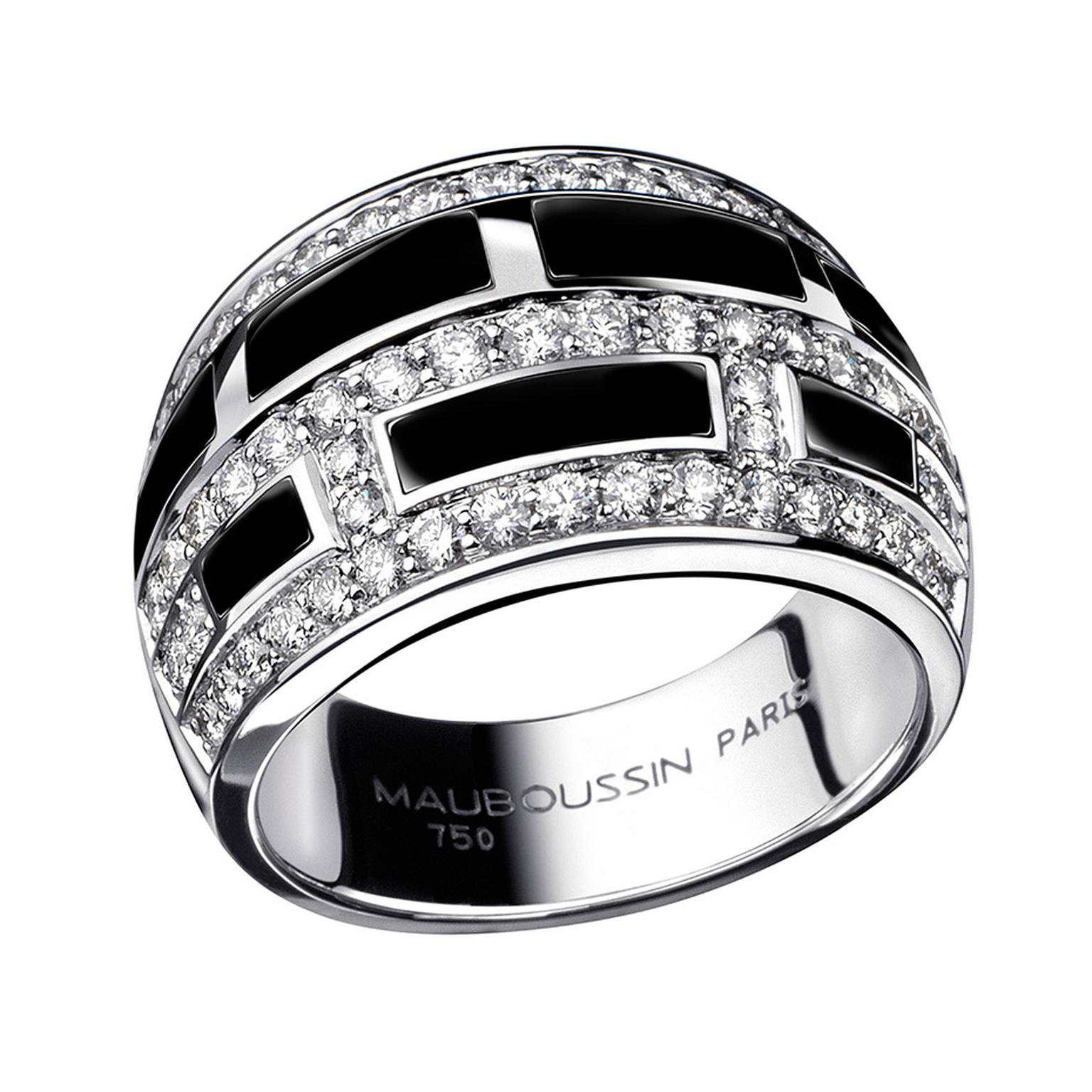 The monochromatic Le Vice et la Vertu ring, from the Bonbon collection, is inset with black lacquer and pavé diamonds ($6,200).
