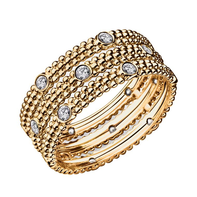 Mauboussin's Le Premier Jour ring in yellow gold features six diamonds ($1,400).