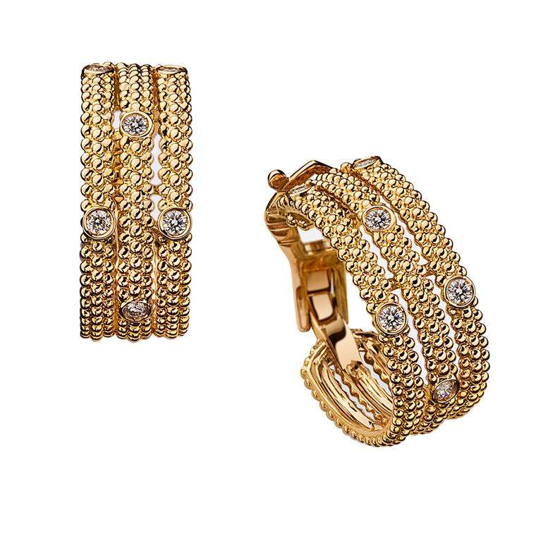 Mauboussin Le Premier Jour earrings in yellow gold, set with asymmetrical diamonds ($2,900).