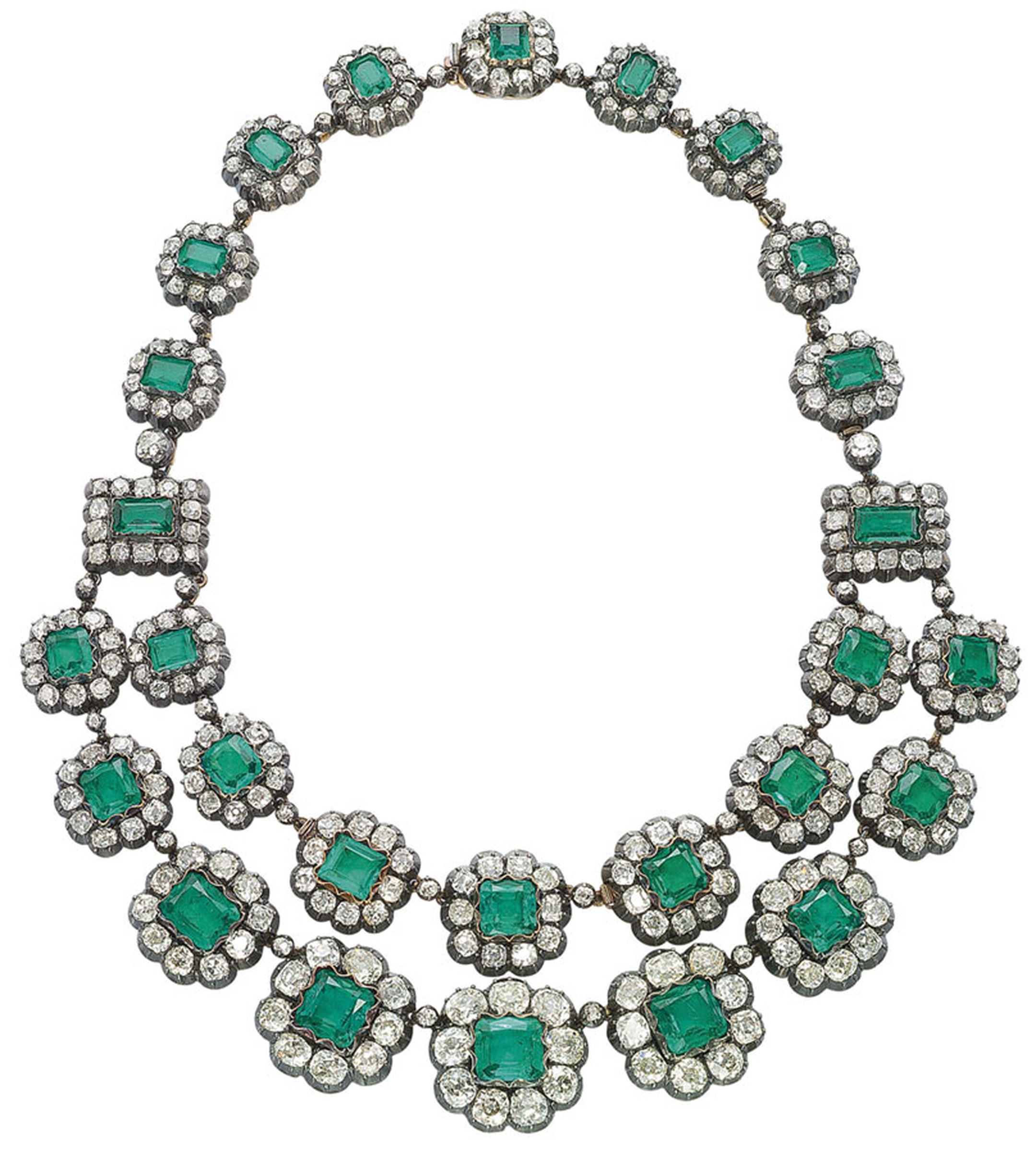 Colombian emerald and diamond two row necklace