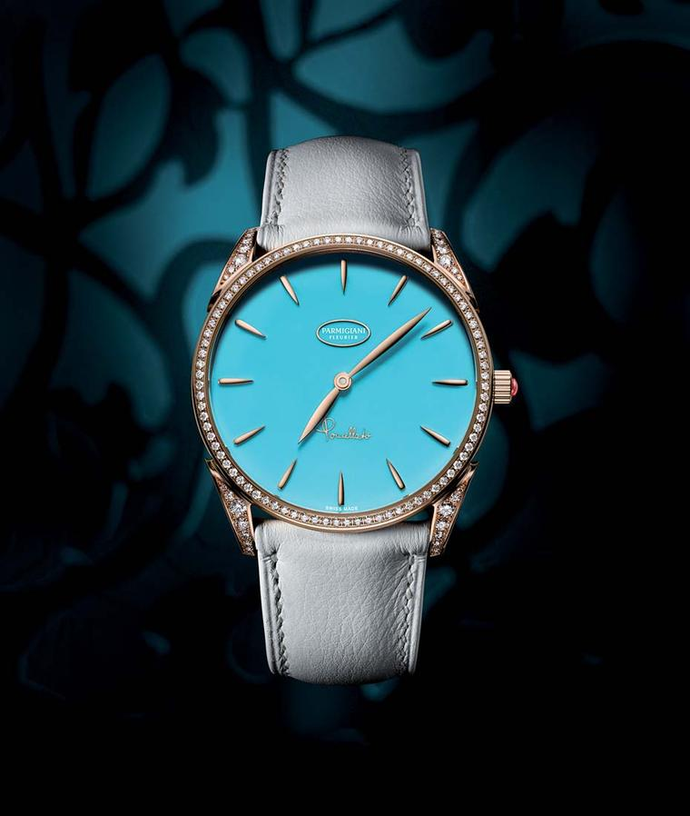 One of the Tonda models captures the spirit of Pomellato's vibrant Capri Collection. The dial features a beautiful turquoise stone set to light with diamonds on the bezel and lugs.