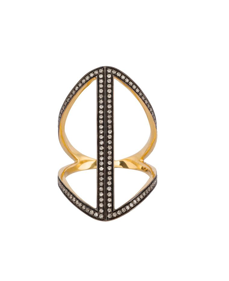 Noor Fares Large Geometric Rhombus ring.
