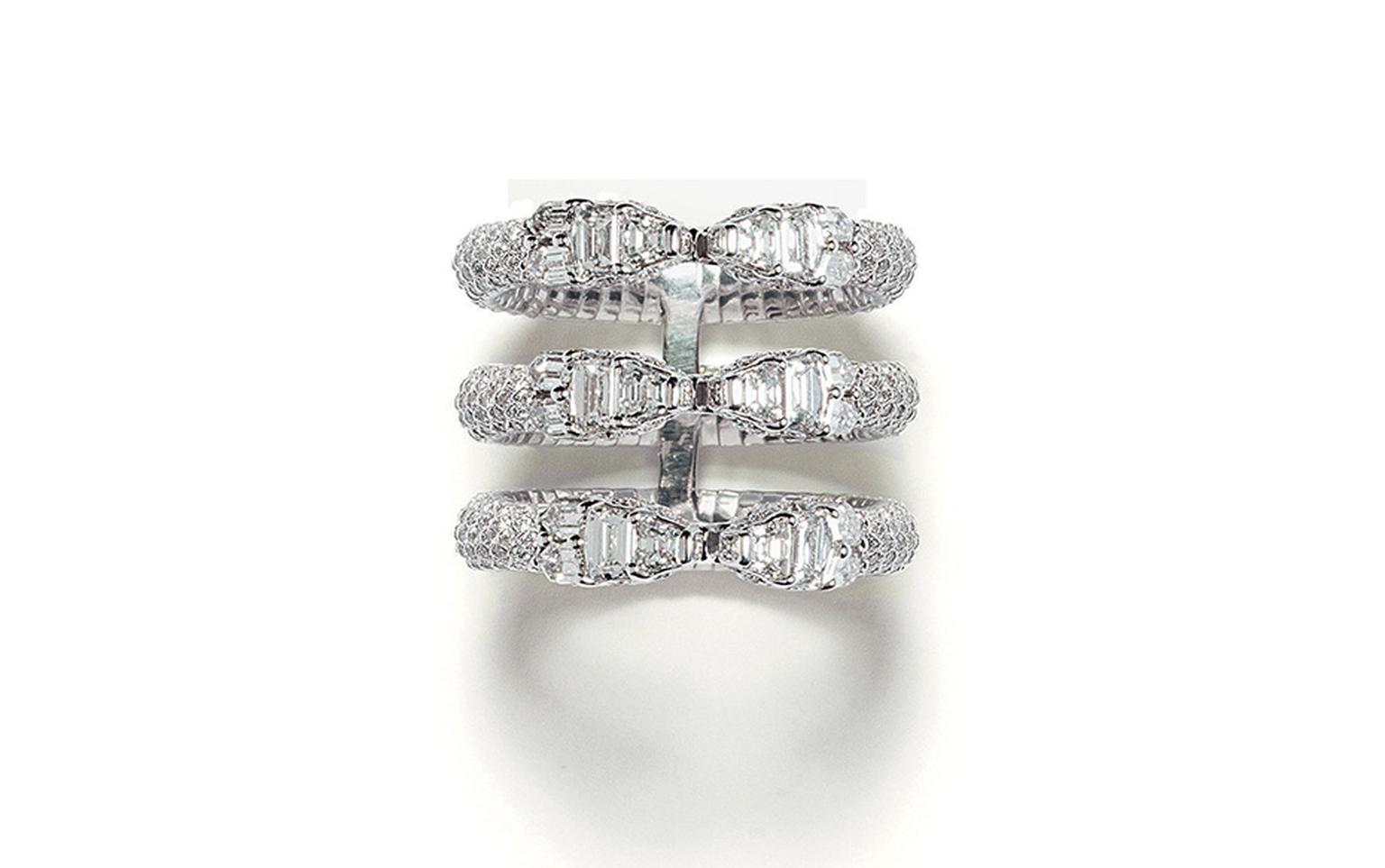 Repossi Ophydienne ring in white gold fully set with diamonds.