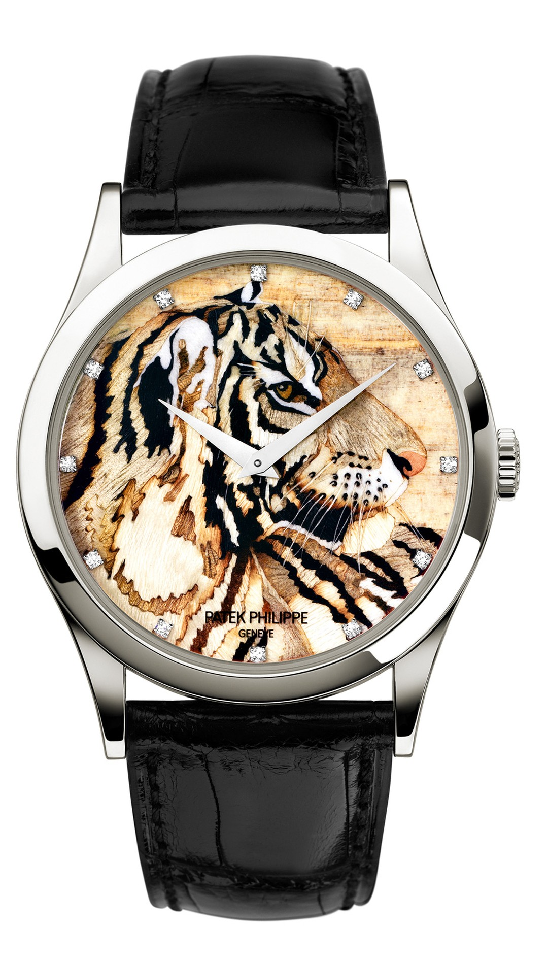 Patek Philippe Royal Tigers Calatrava watch Ref. 5077P, decorated with a tiger's head in wood marquetry, requiring 50 hours of work by a master marquetarian.