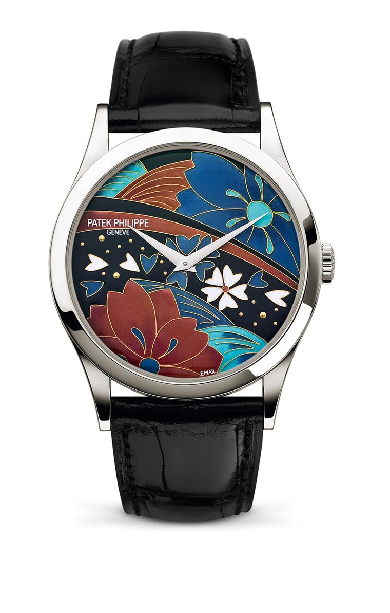 Patek Philippe Japanese Kimono Calatrava watch Ref. 5077. The cloisonné enamel dial required eight enamel colours and 12 firings.