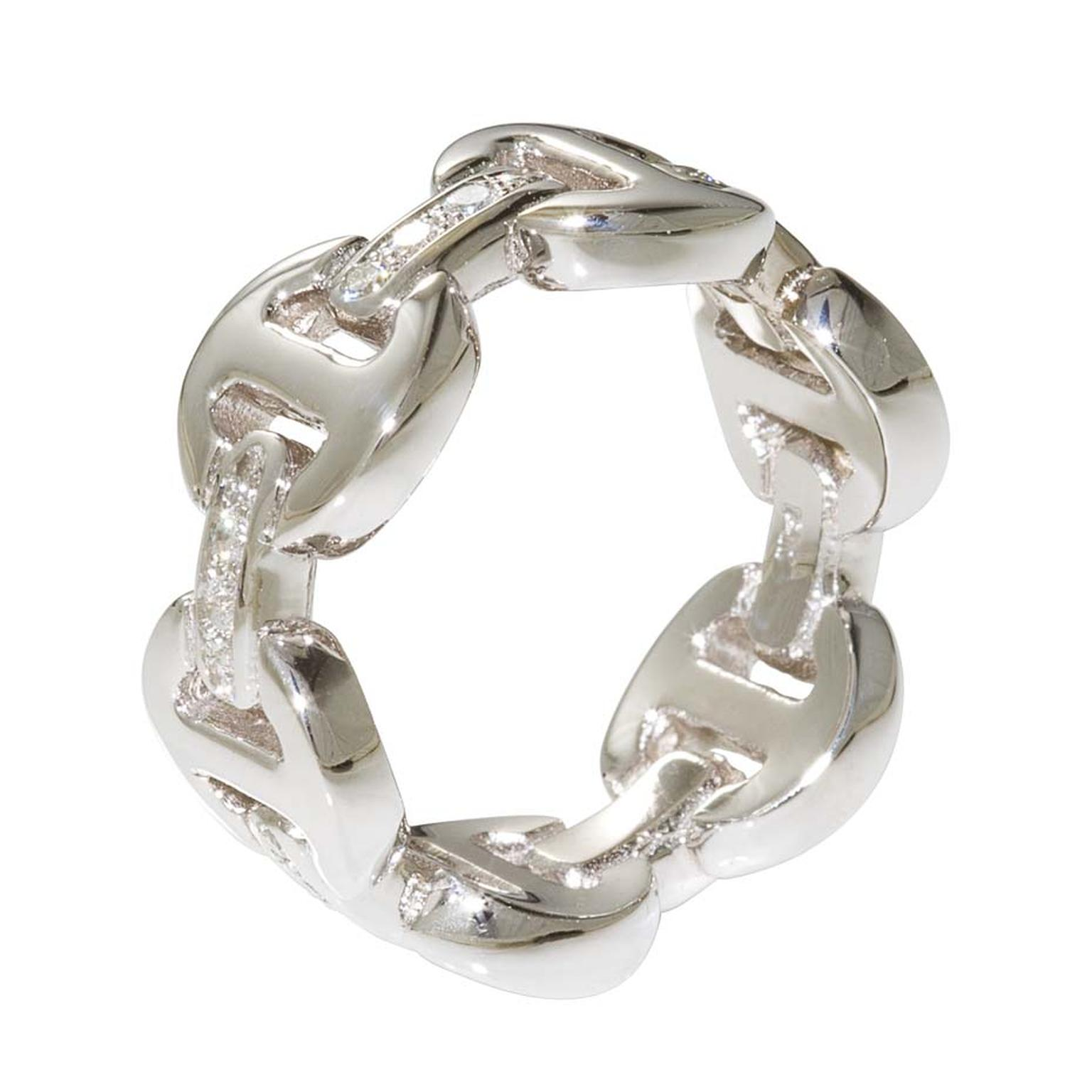 Hoorsenbuhs Tri-Link ring in silver with diamonds.