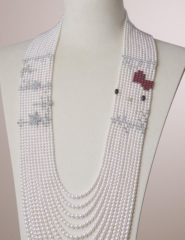 One of the standout pieces from Mikimoto's new 20-piece Hello Kitty collection includes this layered pearl necklace, which traces Hello Kitty's face in diamonds, rubies and onyx pearls.