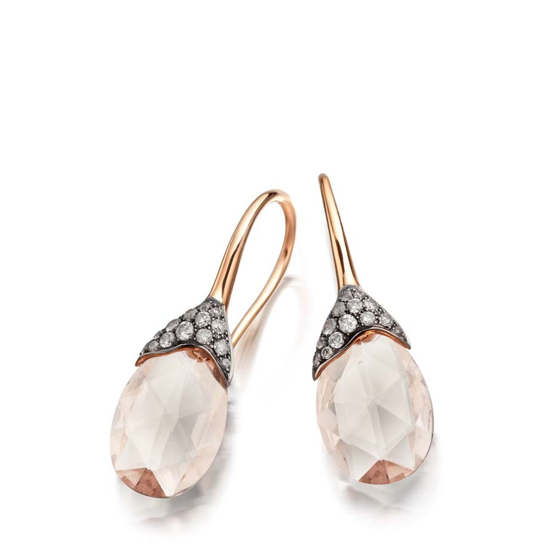 Astley Clarke Fao earrings in rose gold, set with 4.54ct of morganites and molten pavé diamonds (£2,400).
