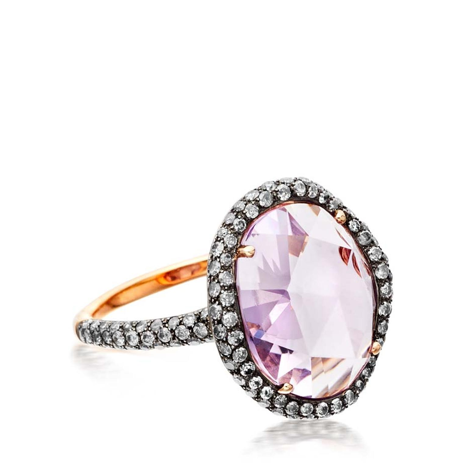 Astley Clarke medium Fao ring featuring a central Rose de France amethyst and molten pavé diamonds