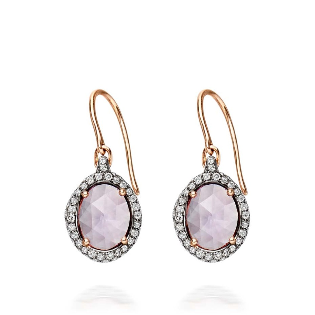 Small oval Fao earrings by Astley Clarke, set with two Rose de France amethysts and pavé diamonds (£1,950).