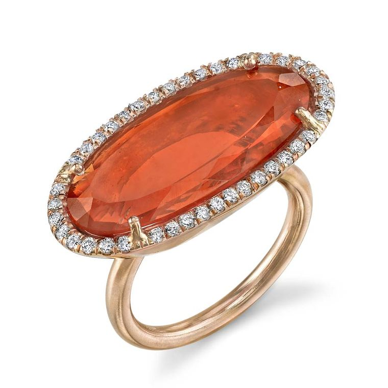 One-of-a-kind Irene Neuwirth ring in rose gold with a Mexican fire opal surrounded by diamond pavé.