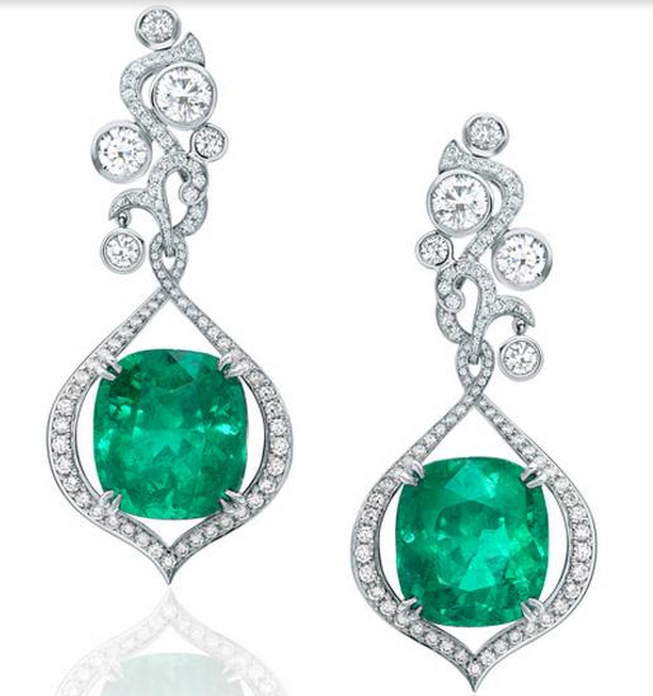 Boodles Greenfire collection Colombian emerald earrings.