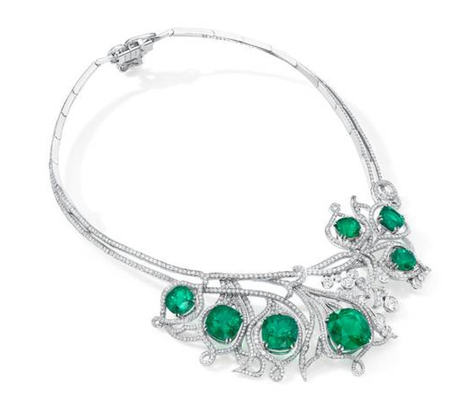 Boodles Greenfire collection necklace set with rare Colombian emeralds.