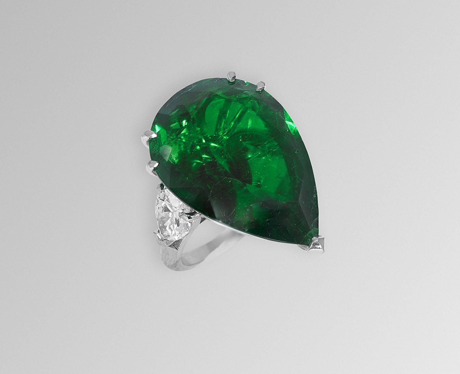 DavidMorris emerald and diamond ring.