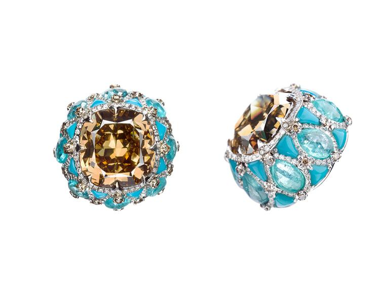 Boghossian turquoise and champagne diamond earrings