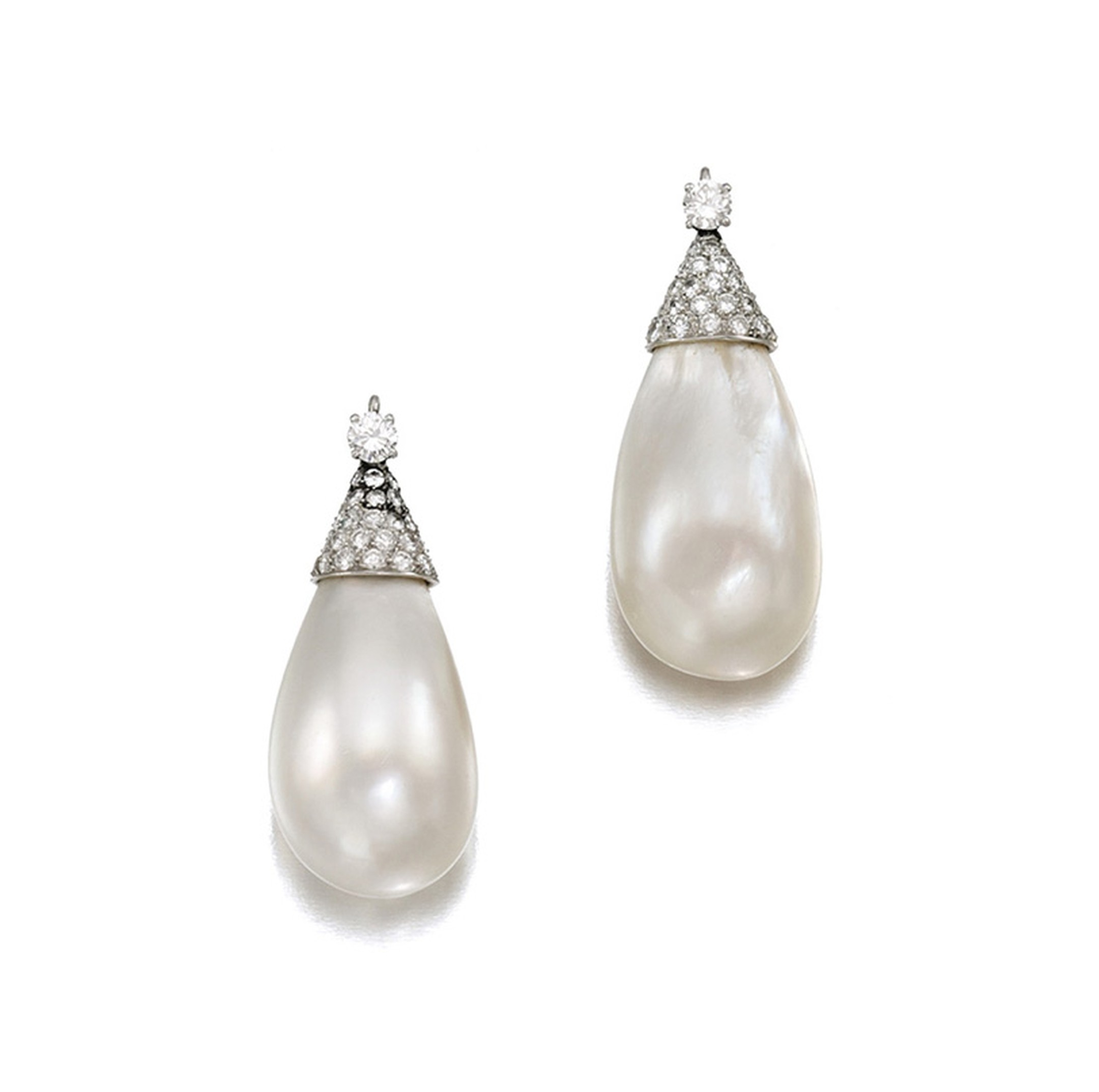 The pair of extremely rare natural baroque pearl pendants with diamonds belonging to Gina Lollobrigida that sold for £1.6 million at Sotheby's London in April 2013.