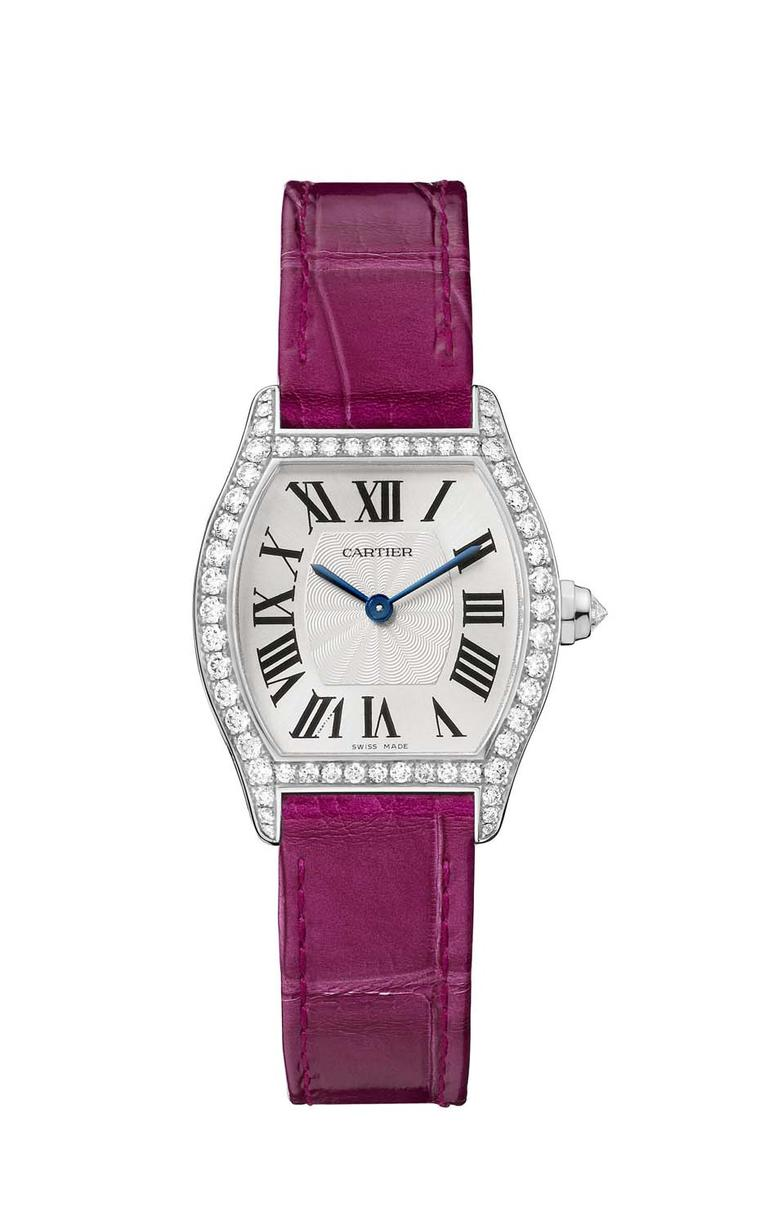 The Cartier Tortue small model in white gold features diamonds and an alligator skin bracelet