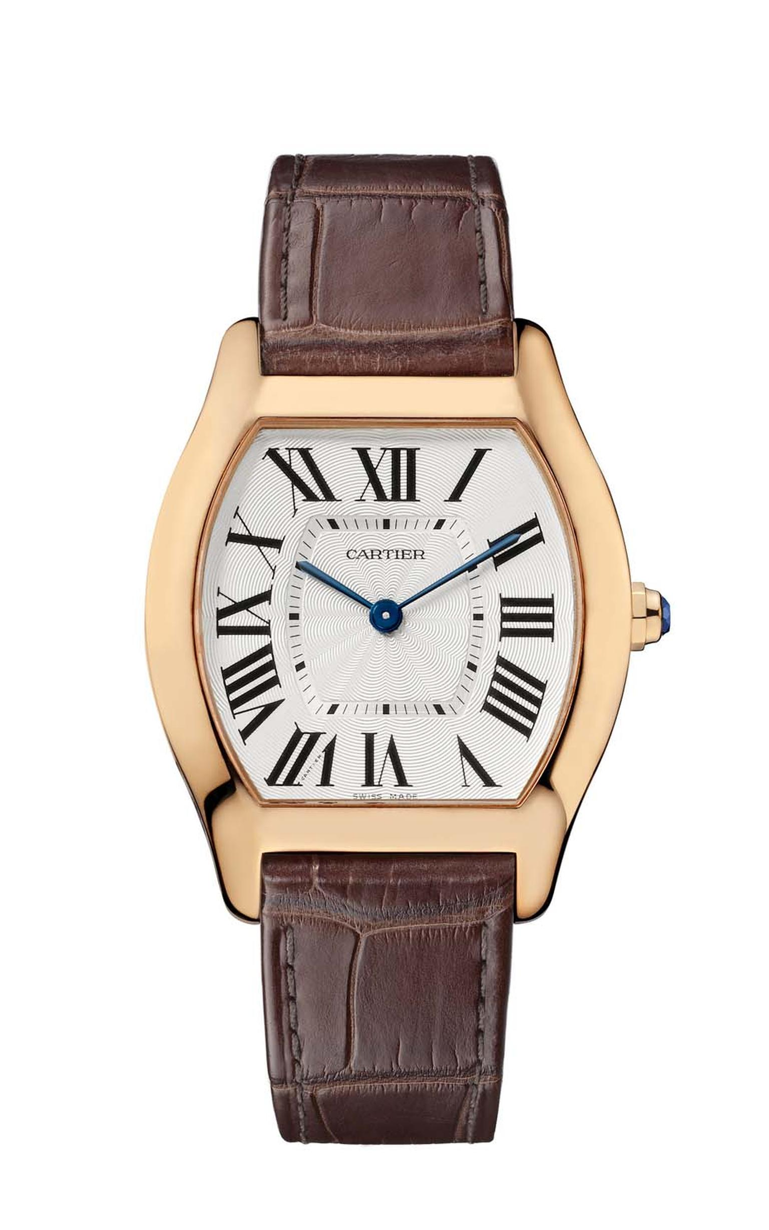 Cartier's Tortue watch medium model in pink gold with an alligator skin strap.