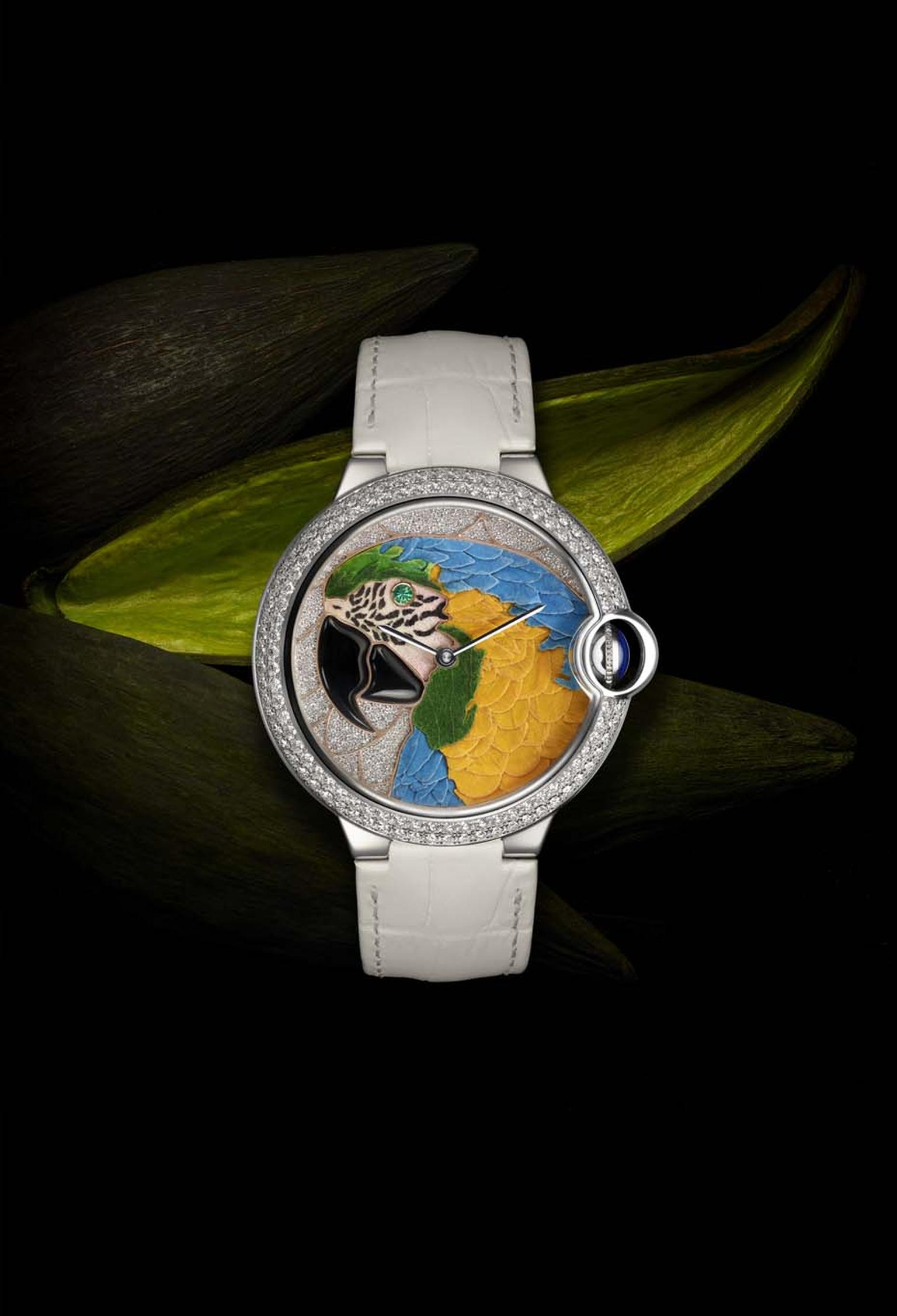 Cartier's Ballon Bleu de Cartier Floral-Marquetry Parrot with diamonds