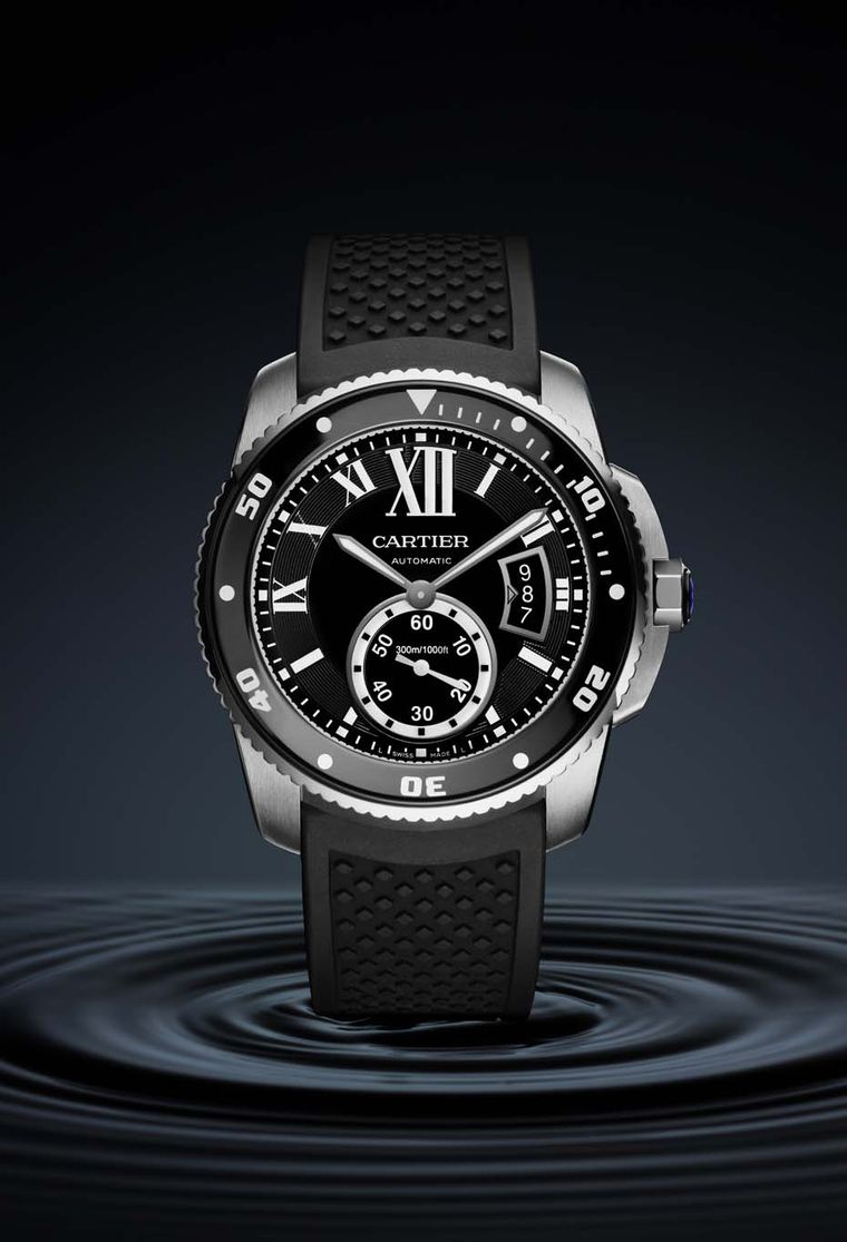 The new Calibre de Cartier Diver in steel features a unidirectional bezel and is water resistant to 300m.