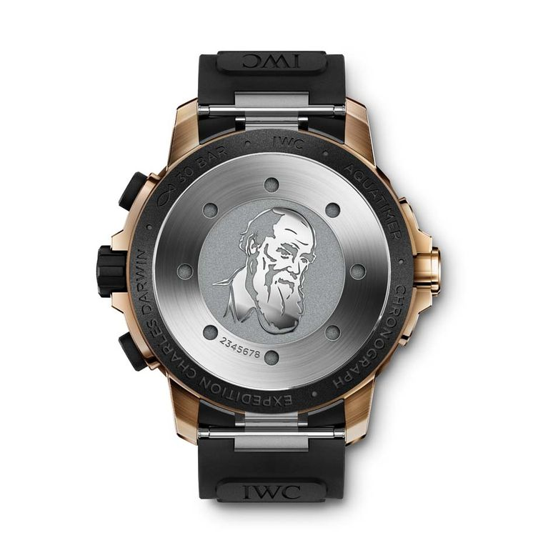The reverse of IWC's Aquatimer Expedition Charles Darwin Chronograph Edition is engraved with a portrait of Darwin.