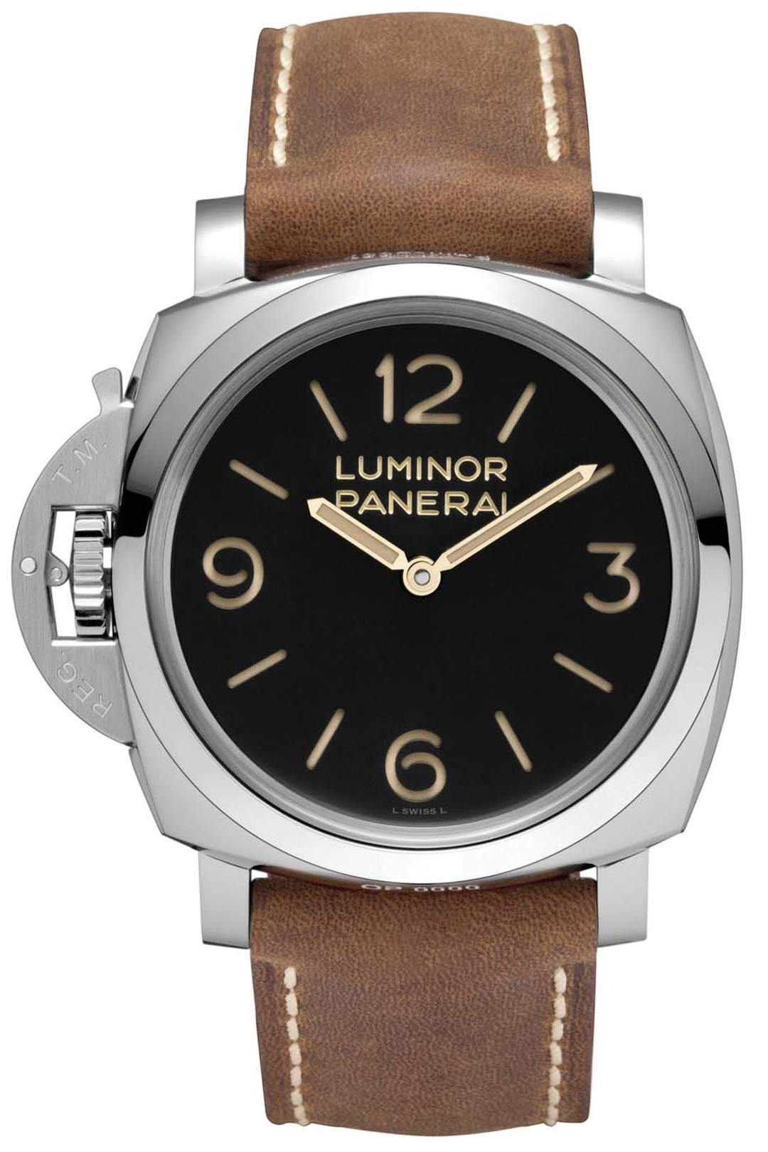 The Panerai Luminor 1950 3 Day-47mm is a special left-handed edition, with the large crown-protecting device at 9 o'clock.