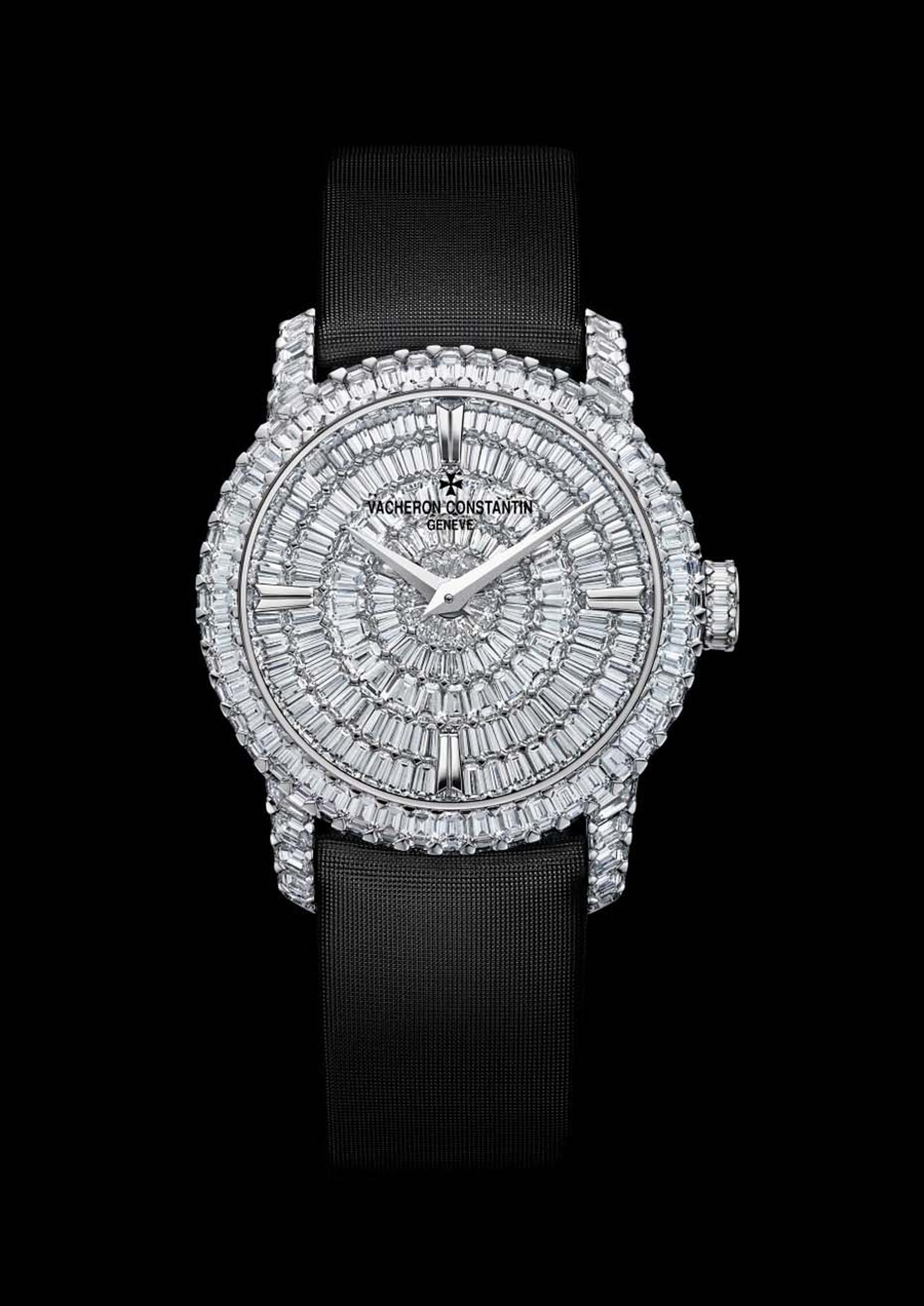 Vacheron Constantin's Patrimony Traditionnel high jewellery small model is set with prong-set baguette-cut diamonds totaling 10.60ct.