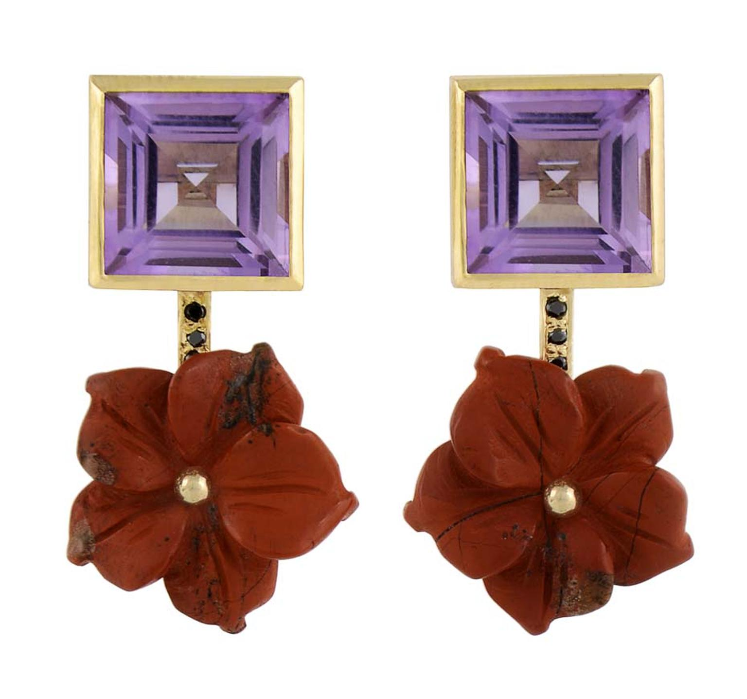 Tessa Packard yellow gold Chinatown earrings featuring black diamond, amethyst and carved red jasper flowers