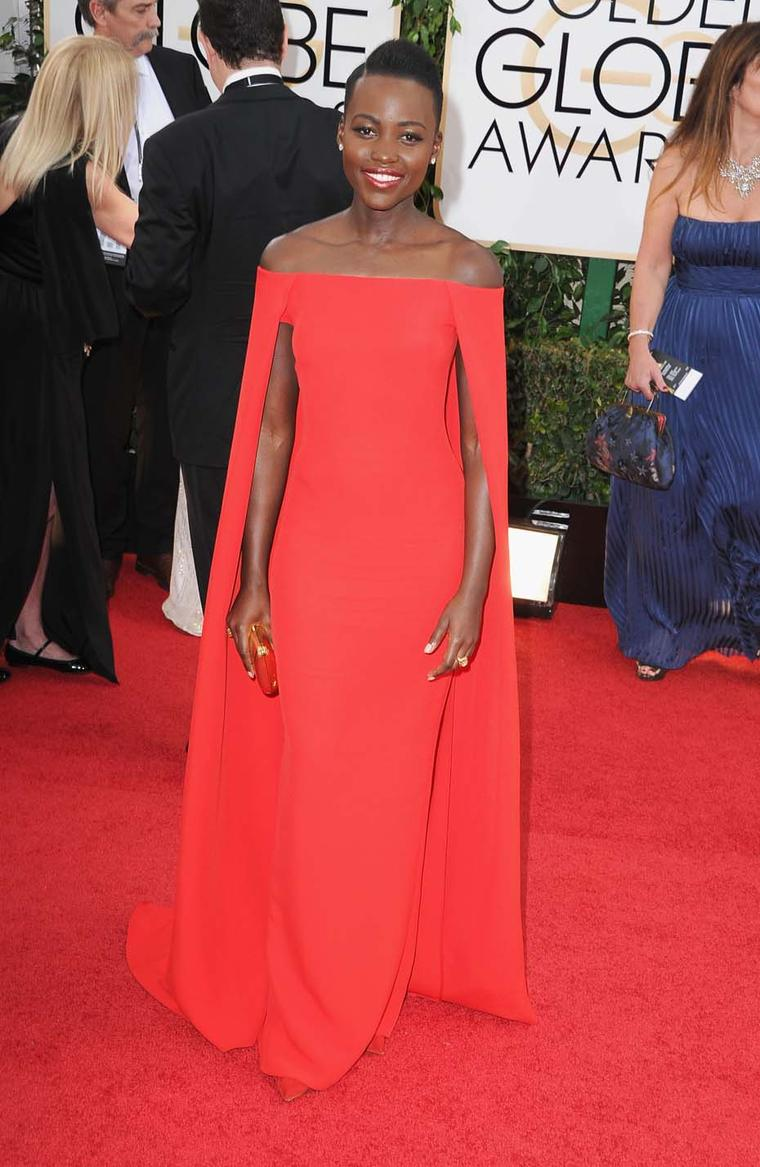 Newcomer Lupita Nyong'o accessorised with vintage Fred Leighton jewels at the Golden Globes 2014