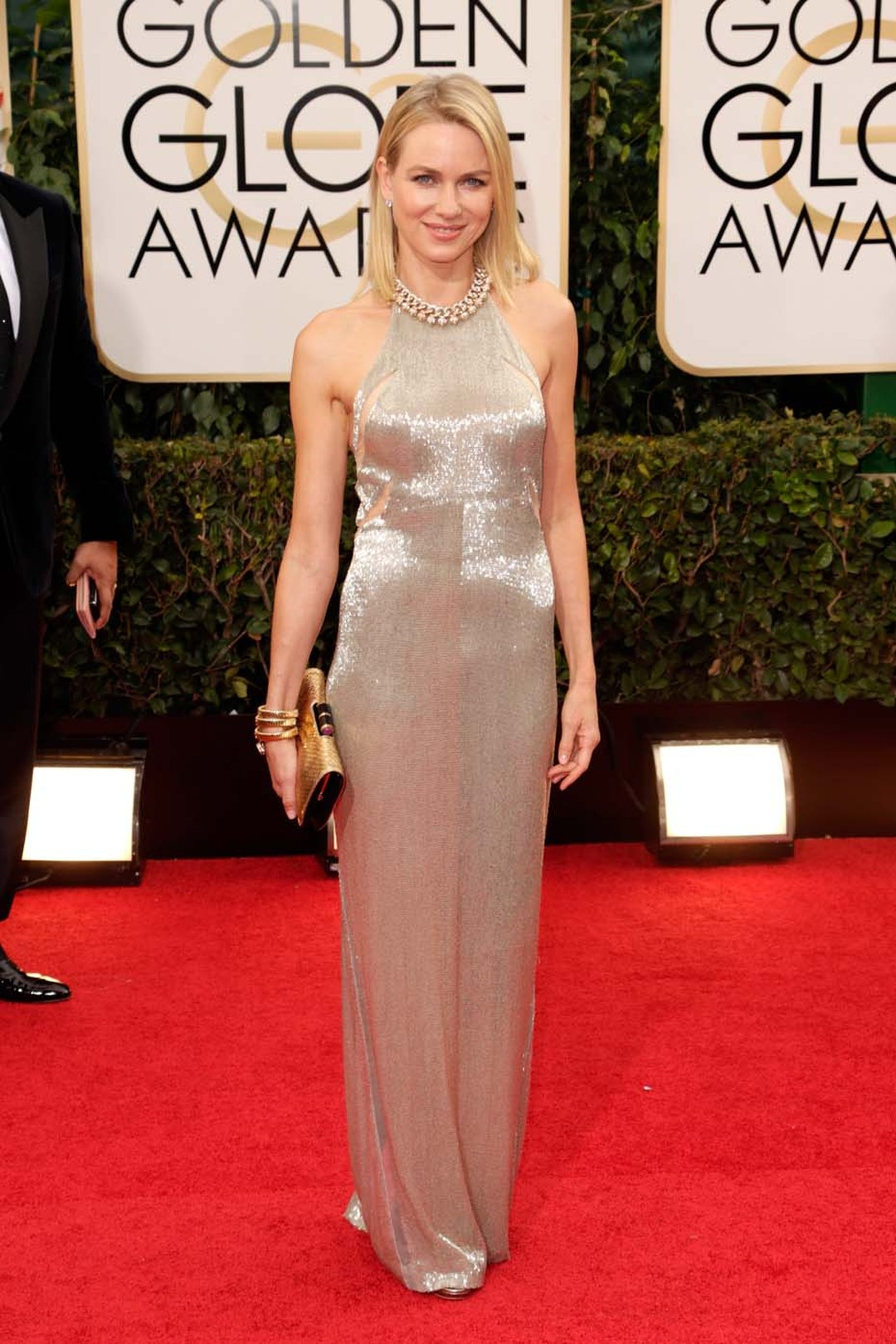 Naomi Watts glittered in gold at the 2014 Golden Globes, including a diamond necklace from Bulgari's Heritage Collection, circa 1993
