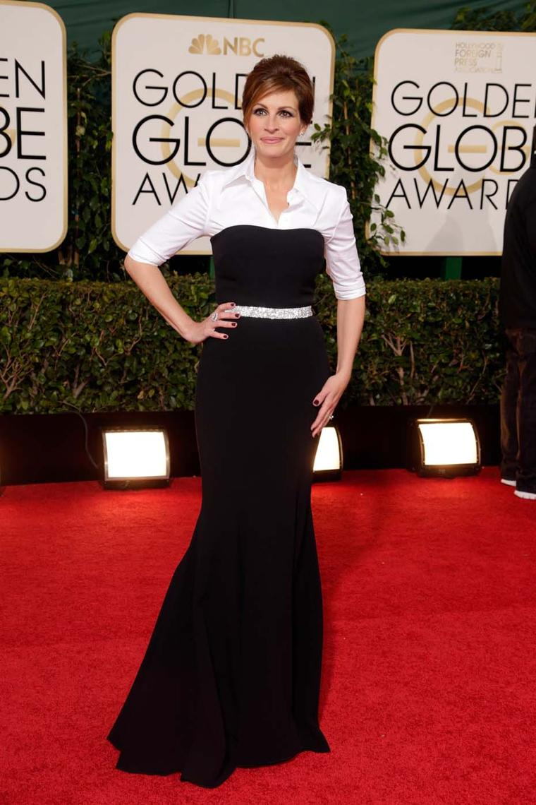 Golden Globes 2014 nominee Julia Roberts in emerald-cut diamond ear studs and a diamond cocktail ring, both by Harry Winston