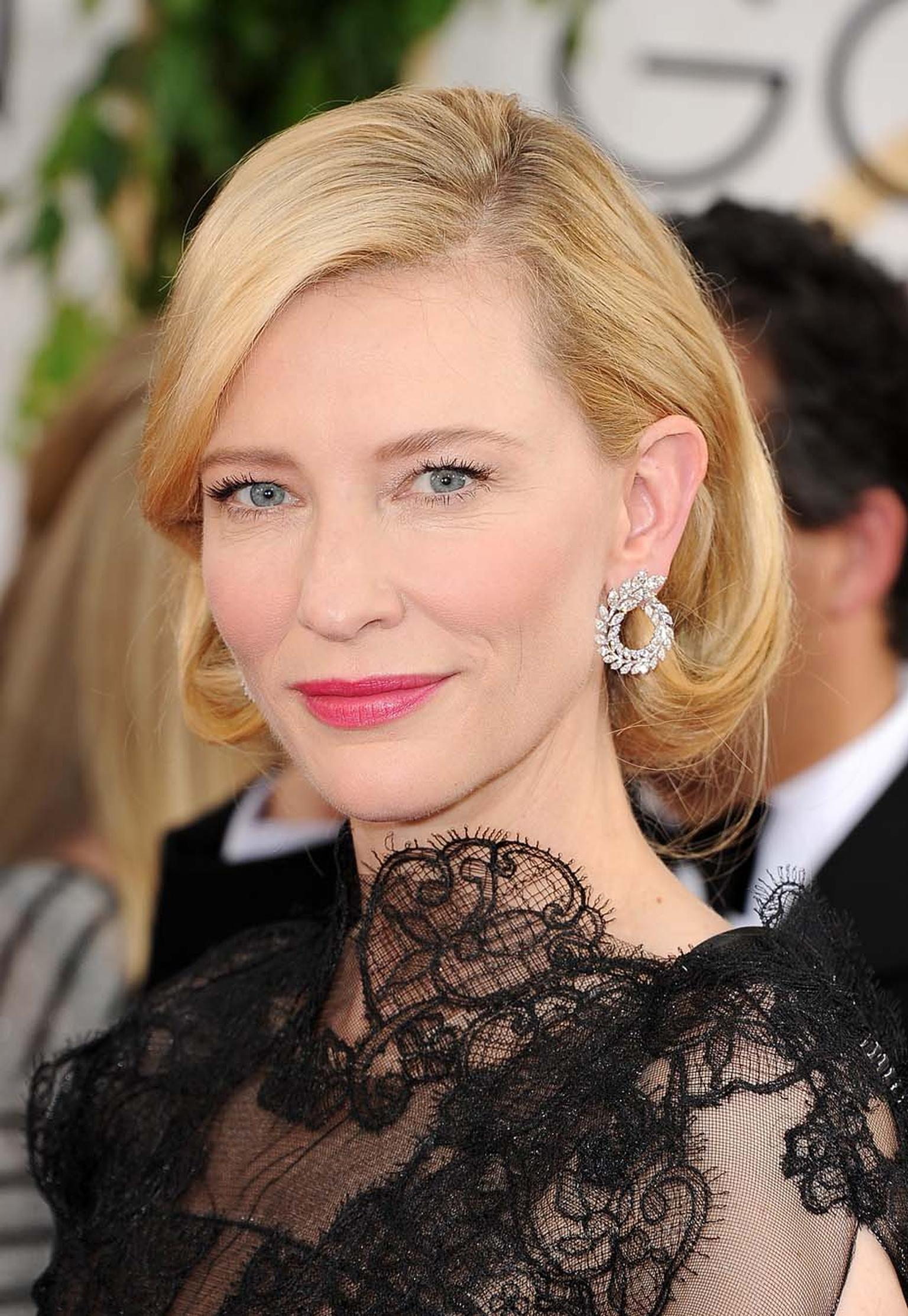 Cate Blanchett previewed a pair of Green Carpet Collection earrings by Chopard at the Golden Globes 2014 - the fruit of a collaboration with Livia Firth's Eco-Age