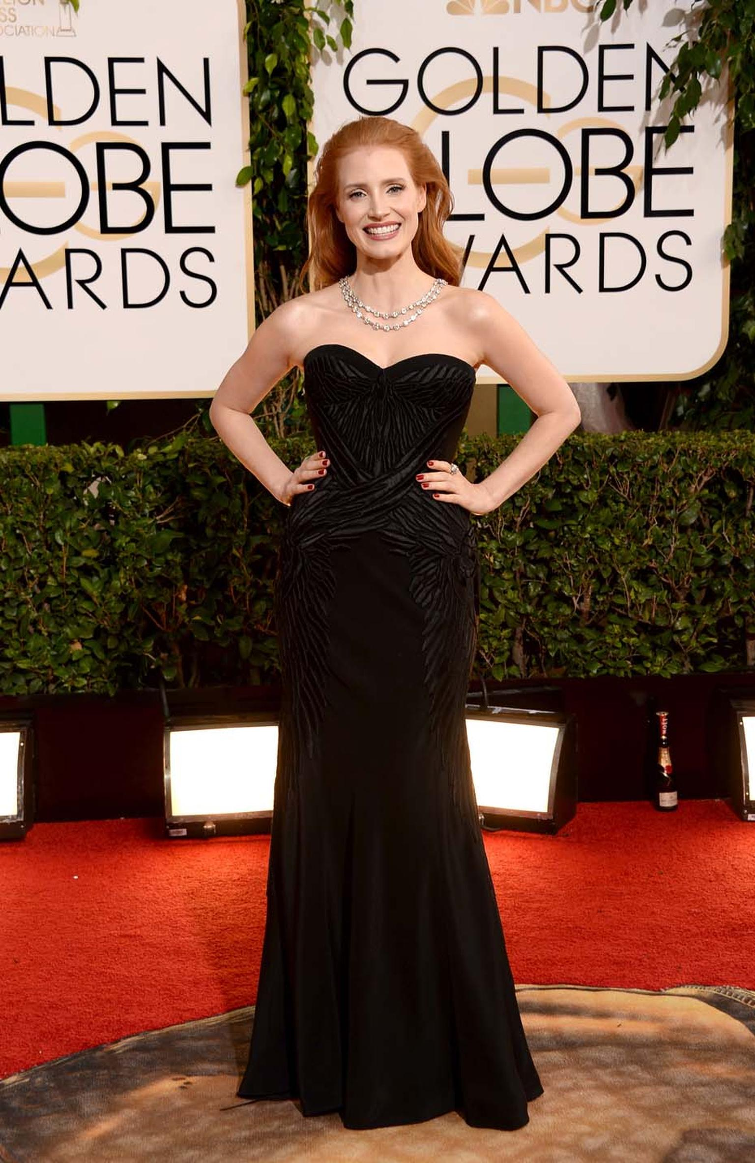 Jessica Chastain provided some old-school glamour at the 2014 Golden Globes in vintage Bulgari jewels