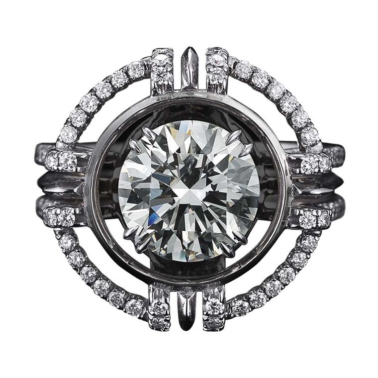 Alexandra Mor one-of-a-kind ring, set with a 2.14ct brilliant-cut diamond, encircled by diamond melee.