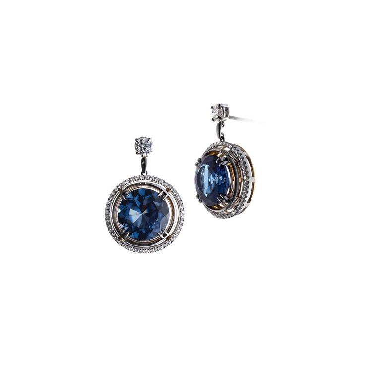 Alexandra Mor limited edition London earrings, set with 14.36ct blue topaz, suspended from a pair of brilliant-cut diamonds.