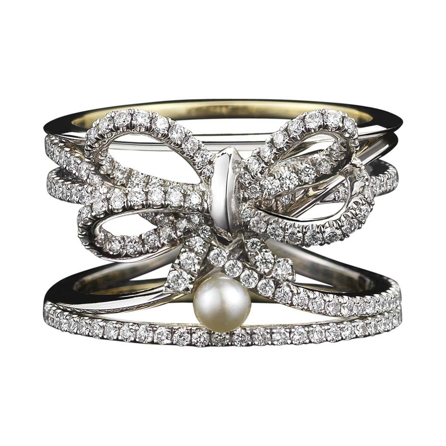 Limited edition Alexandra Mor diamond bow and pearl ring set with knife-edged wire and 'floating' diamond melee.
