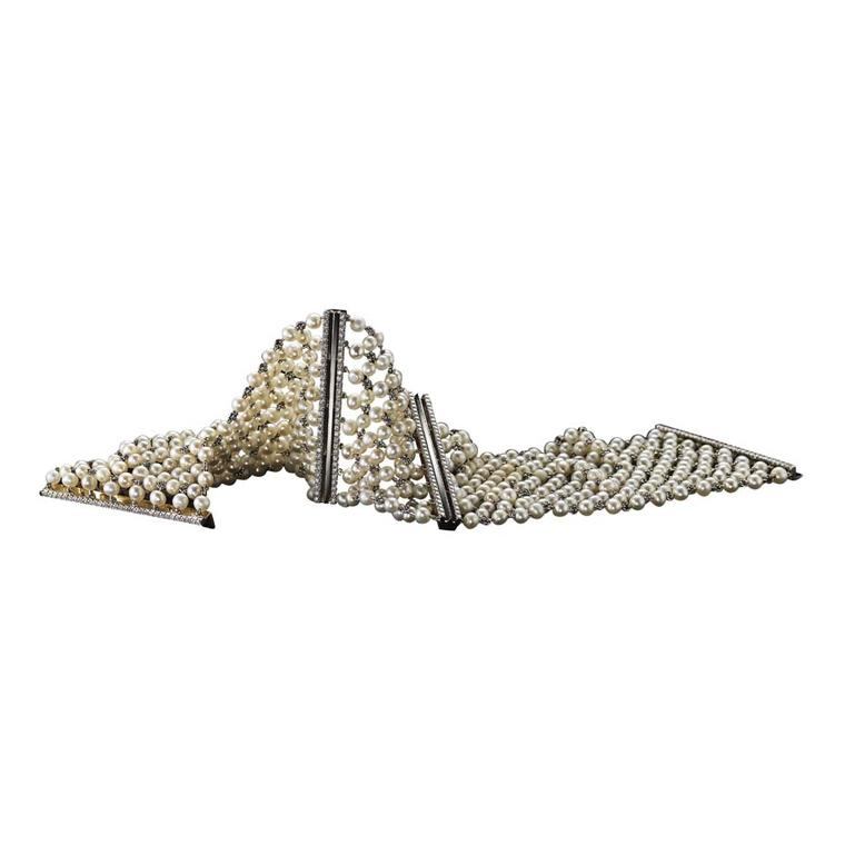 Limited edition Alexandra Mor pearl-mesh and diamond cuff bracelet.