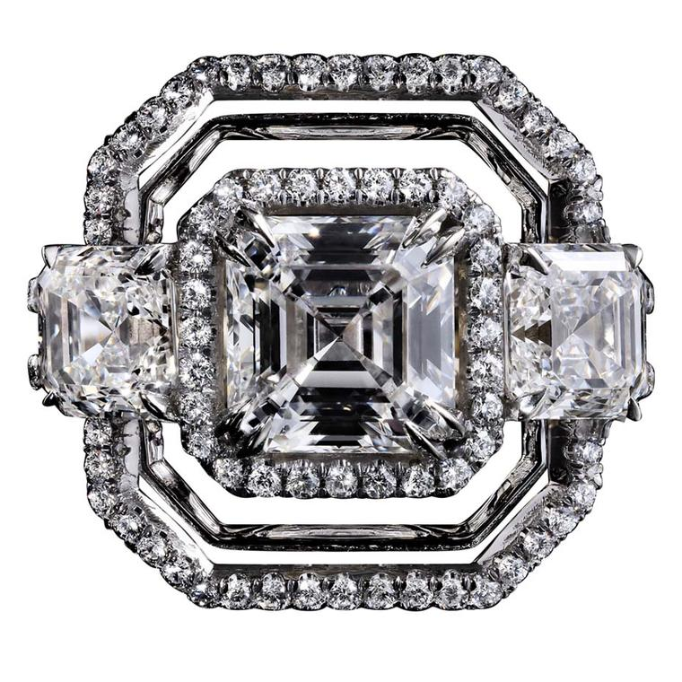 Limited edition three-stone platinum Alexandra Mor ring with a 2.10ct Asscher-cut diamond flanked by matching Asscher-cut diamonds