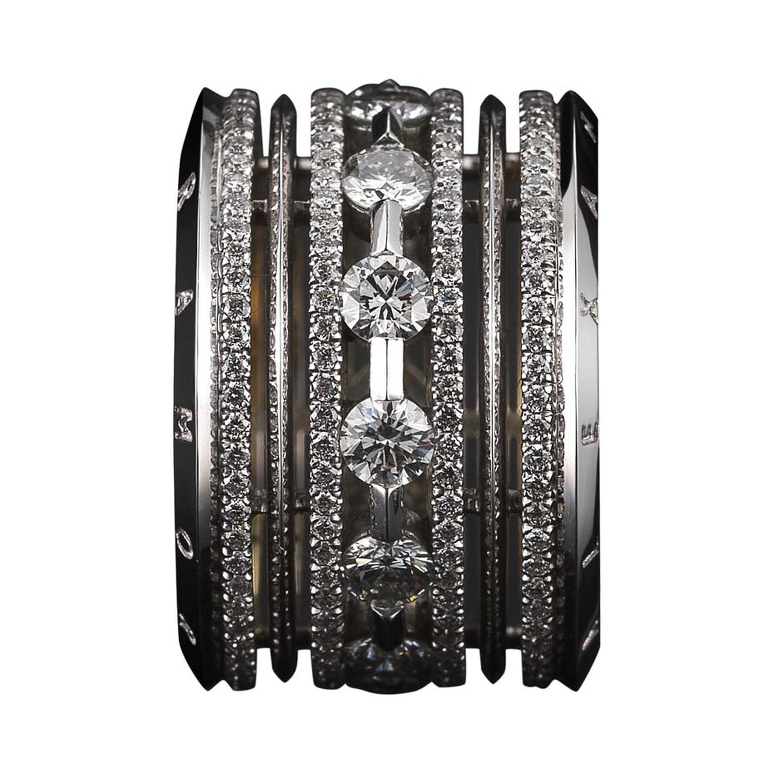 Limited edition wide eternity band featuring brilliant-cut diamonds, with Alexandra Mor's signature details of 1mm melee bands and knife-edged wire.