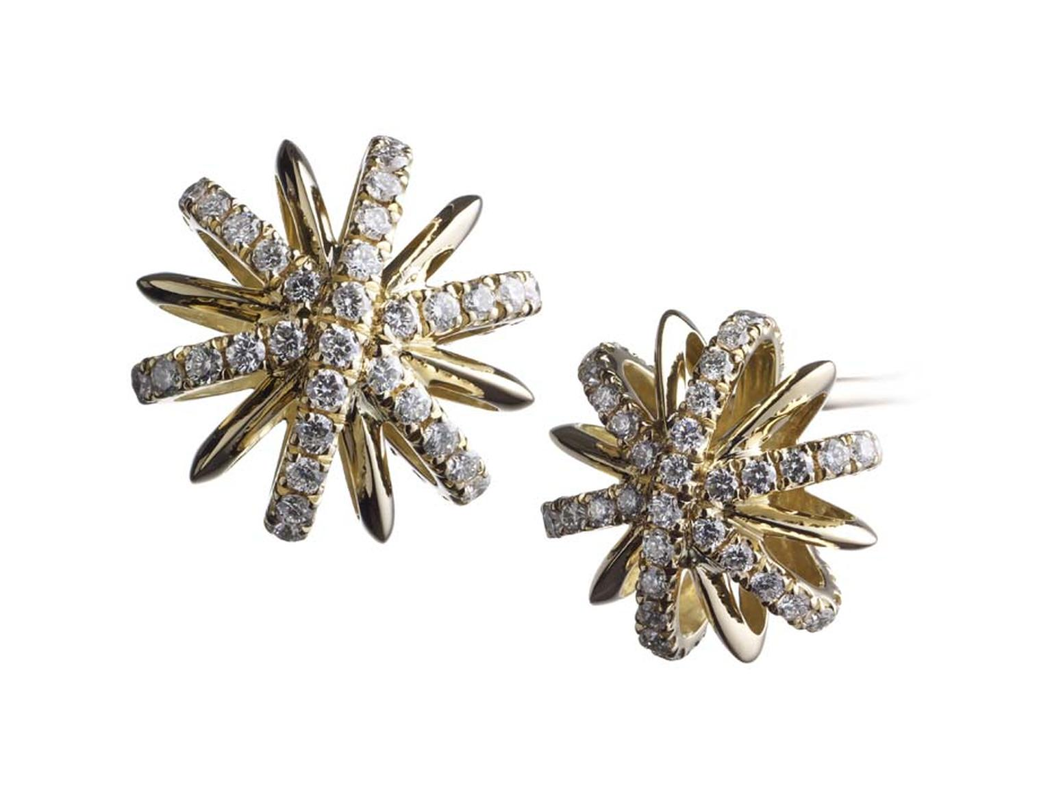 Alexandra Mor limited edition yellow gold Snowflake stud earrings set with 5ct diamonds.