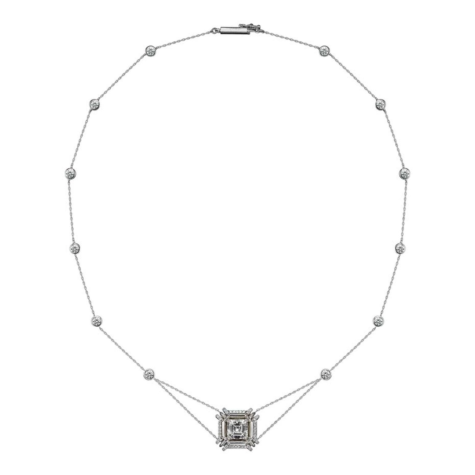 Limited edition necklace featuring 2.00ct Asscher-cut diamonds encircled with Alexandra Mor's signature