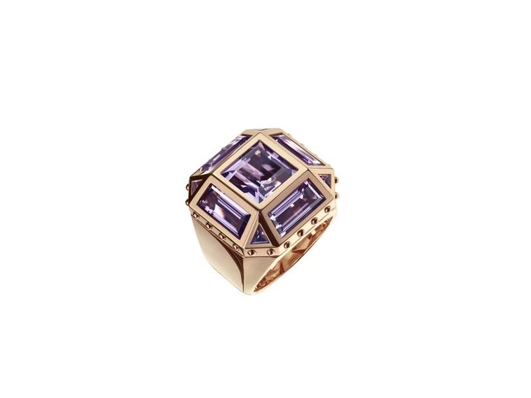 Louis Vuitton yellow gold Emprise ring featuring a central amethyst